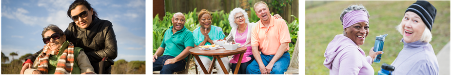 Group of pictures featuring elderly people outside enjoying social time with friends